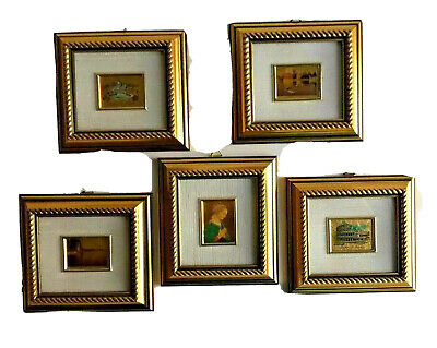 Miniature Gold Ornate 5 Frames 23 Kt Gold Leaf Italian Reproduction Art