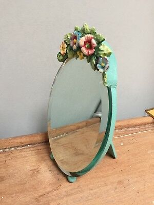 VINTAGE 1940-50s BEVELLED THICK HEAVY TABLE MIRROR - SMALL - ORIGINAL GLASS
