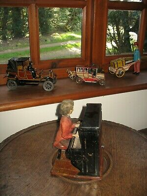 Rare Antique French Musical Automaton Fernand Martin Pianist Tinplate Tin Toy