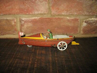 RARE WIND UP FISCHER SPEED RACE BOAT 1920's GERMANY nice VINTAGE TIN PENNY TOY