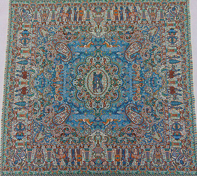 Persian Rug Style Woven Tapestry Authentic Art Silk Exotic Termeh Fabric Textile