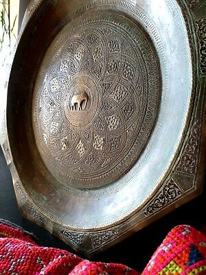 Old North African Inlaid Bronze / Brass Tray …beautiful collect piece