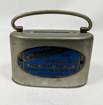Vintage Coin Bank Advertising Coolerator Economicer Wisconsin Ice & Coal Bankers