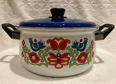 Vintage-Retro Levcoware JAPAN; Large Enameled Dutch-Oven w Cheerful Graphics