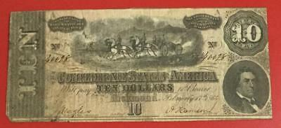 1864 $10 US Confederate States of America! VG! Old US Paper Money Currency