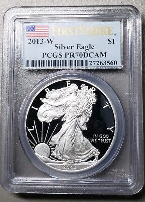 2013-W Proof $1 American Silver Eagle PCGS PR70DCAM First Strike Label
