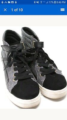 ff20ab0d3894 JUICY COUTURE MACKS Black White Women s High Top Sneakers Size 8.5 ...