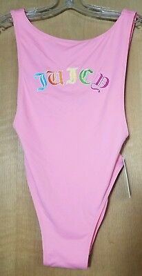 6bebeeca0a8b2 Juicy Couture Black Label Womens Pink High Thigh One-Piece Swimsuit Small