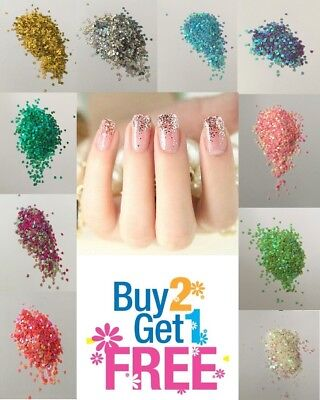 HEART Glitter💗Multi Colors Nail Holographic Glitter Art Acrylic Gel Free ship