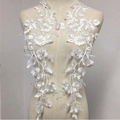 1 Pair Ivory Floral Embroidery Bridal Lace Applique DIY Dress Custome Material