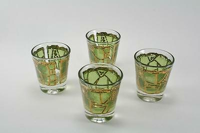Vintage Libbey Mid Century  By Starlyte Gold And Green Swirls Cordial Set Of 4