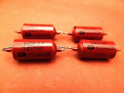 4 x 0.047 uF / 400 VOLT PIO RUSSIAN MILITARY AXIAL CAPACITOR * NOS * HERMETIC *