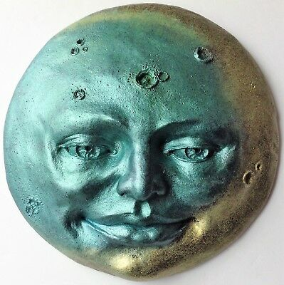 Blue Gold Full Moon Sculpture Wall Art by Claybraven, New Metallic Colors