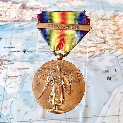 Wwi U.s. Army Victory Medal England Clasp Bar Full Wrap Brooch Vintage Issue