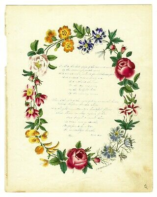 c 1840s Hand-Colored Flower Wreath Lithograph Poem Handwritten by W. A. Post