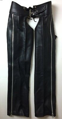 Mr. S Leather Outside Zip Black Chaps made in SF waist 33-34  MSRP $420