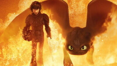 """026 How to Train Your Dragon 3 - The Hidden World Hiccup Movie 42""""x24"""" Poster"""