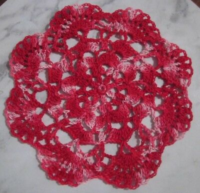 Red Variegated Cotton Crochet Doiley Doilies - Handmade - 23cms approx
