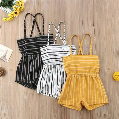 Jumpsuit Infant Toddler Kids Baby Girls Striped Sleeveless Outfit Fashion Summer