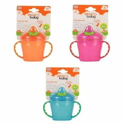 Vital Baby Free Flow Cup with Soft Flip Spout - Blue, Orange or Pink