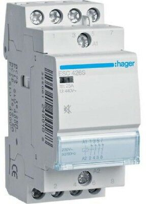 Hager HUMFREE CONTACTOR HAGESC426S 230V 25A 4xN/C Screw Connection *German Brand