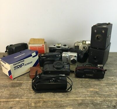 Large Job Lot Of Cameras & Accessories To Include Canon, Olympus & Box Examples.