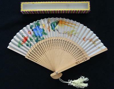 Vintage 1980s Chinese Fan - Pierced Wood & Hand Painted Paper Bird of Paradise