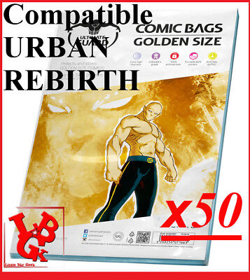 Pochettes Protection GOLDEN Size REFERMABLES comics x 50 Bags URBAN # NEUF #