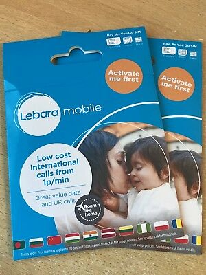 UK Twin Lebara Triple SIM CARD - FREE EU ROAMING