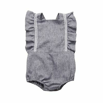 Kids Jumpsuit Newborn Baby Girls Gray Lace Flower Backless Romper Outfits Cotton