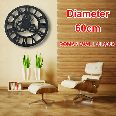 Large Wall Clock Antique Traditional Roman Numerals Skeleton Metal Round 60cm