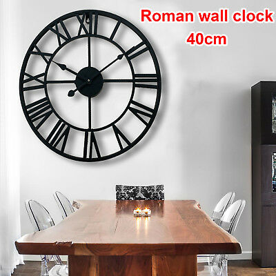 Wall Clock Traditional Vintage Style Iron Roman Numerals Skeleton Home Decor