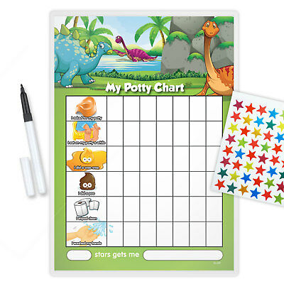 Magnetic Dinosaur Potty Toilet Reward Chart With Pen & Star Stickers - Dinp