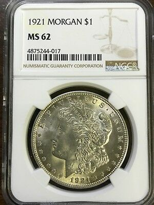 1921 Morgan Silver Dollar - NGC MS62 - BRILLIANT UNCIRCULATED - #244-017