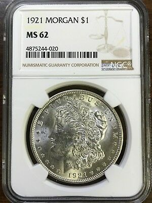 1921 Morgan Silver Dollar - NGC MS62 - BRILLIANT UNCIRCULATED - #244-020