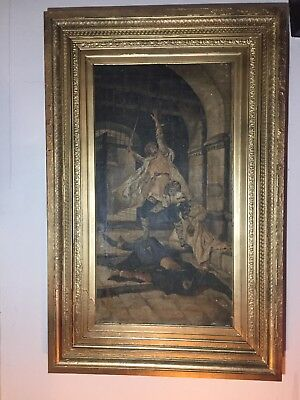 Large Antique Oil Painting THE DUEL Antique 19th century Gilt Gesso Frame Signed