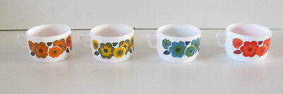 4 petites tasses Arcopal Lotus vinage seventies