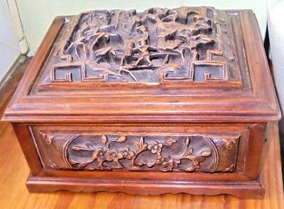 box coffret chinese CARVED WOOD ancien,chine asia japan wiet indochine,no bitong