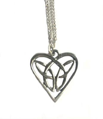 Celtic Interlaced Heart Necklace, Handmade from Fine English Pewter