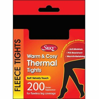 Black Soft Opaque 200 Denier Warm Cosy Thermal Fleece Tights From Silky New