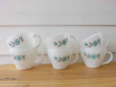 Vintage Fire King Oven Ware Bonnie Blue Flower Coffee Tea Cups Mugs Set of 6