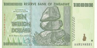 Zimbabwe 2008 ten trillion dollars 10 000 000 000 000 UNC