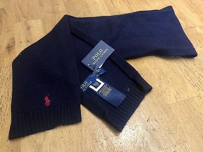 RALPH LAUREN NAVY BLUE SCARF 100% luxury merino wool boys girls BNWT