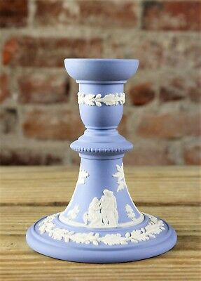 """VINTAGE WEDGWOOD PALE BLUE JASPERWARE CANDLESTICK Ht 4.875"""" Perfect Condition."""