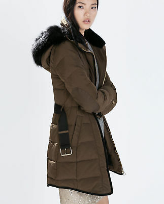 9c4404cf ZARA LONG DOWN Anorak with Piping Puffer Parka Coat Jacket Size S / M