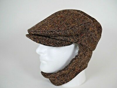 1974bc25bb09f Hanna Hats Donegal Ireland Newsboy Hat with Ear Flaps Wool Tweed ADULT SMALL