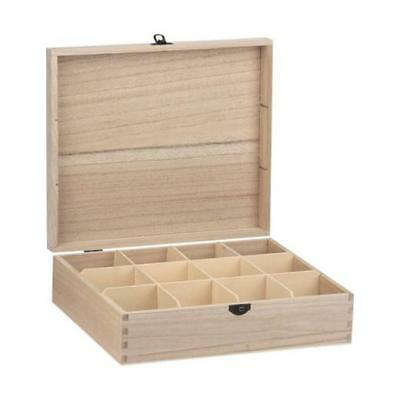Bare Wood Rectangular Box - 12 Compartments #8182