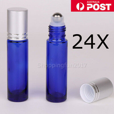 24X 10ML THICK Glass Roller Bottles Steel Big Roll On Ball for Essential Oils AU