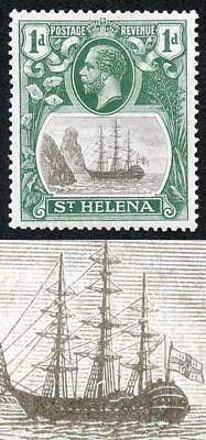 St Helena SG98a 1d grey and green Variety Broken mainstaff M/M (bend)