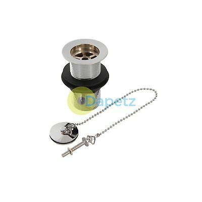 "Chrome-Plated Brass Basin Waste Unslotted 1-1/4"" (32mm) With Plug And Chain"